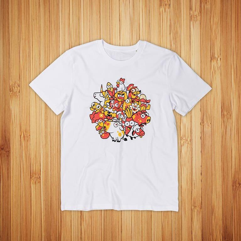 Futureplay Idle Farming Empire t-paitojen painatus