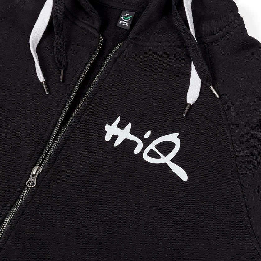 Hiq:n mustat EarthPositive EP60Z -vetoketjulliset hupparit valkoisella logopainatuksella