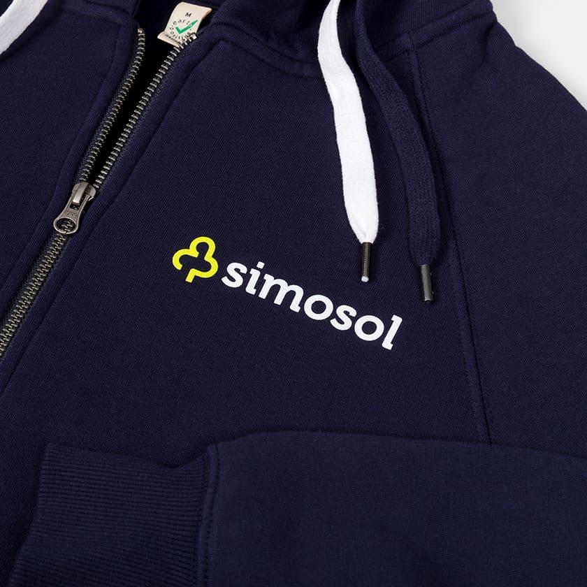 Simosol -vetoketjulliset hupparit värikkäällä logopainatuksella