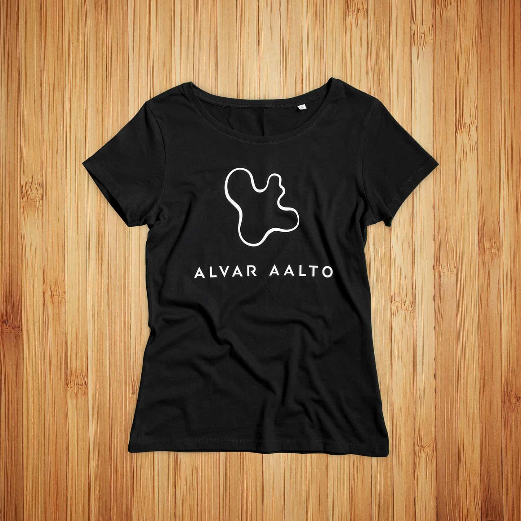 Alvar Aalto, musta t-paita ja valkoinen painatus