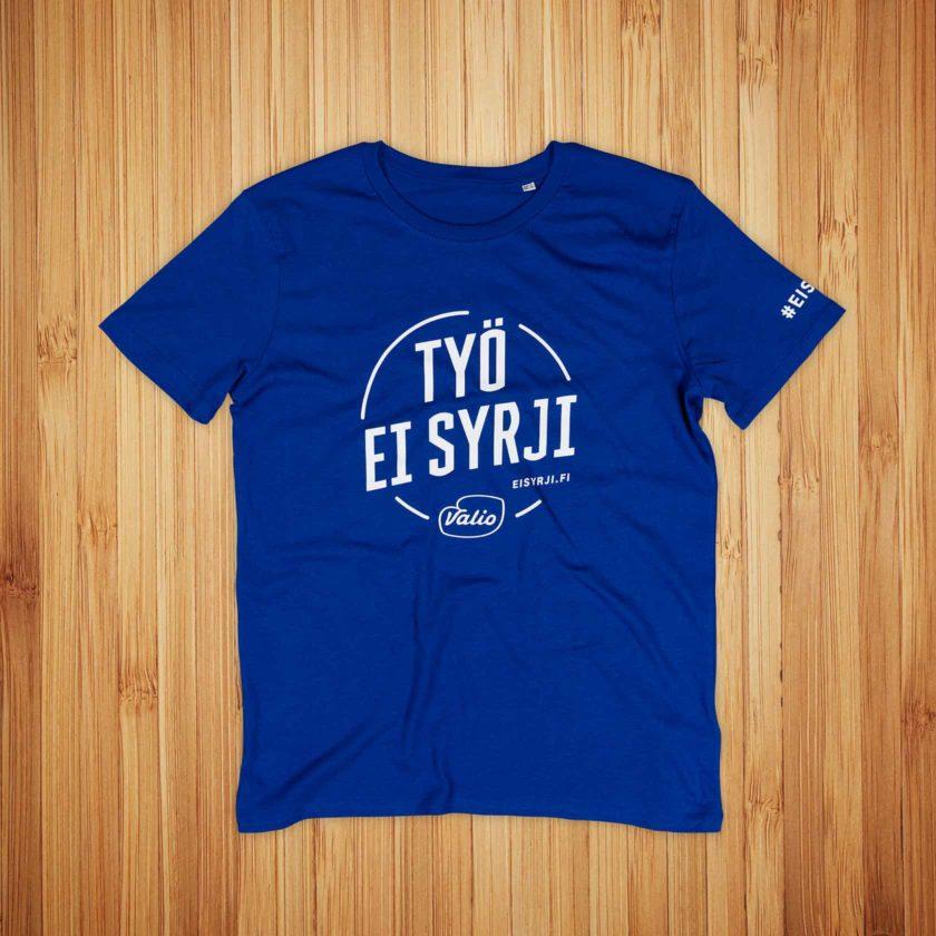 Valio, sininen t-paita ja valkoinen painatus