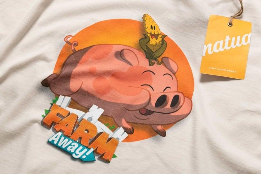 Farm Away! paitojen painatus tehtiin digitaalisella painatuksella.