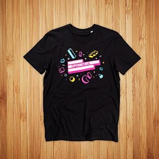T-paitojen painatus Supermetrics, musta t-paita