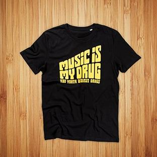 T-paitojen painatus YAD, musta t-paita